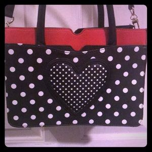 Betsey Johnson bag red black and white super cute